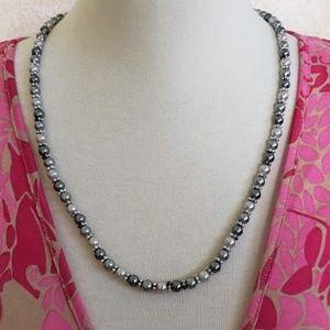 Vintage Napier Metallic Faux Pearl Bead Necklace